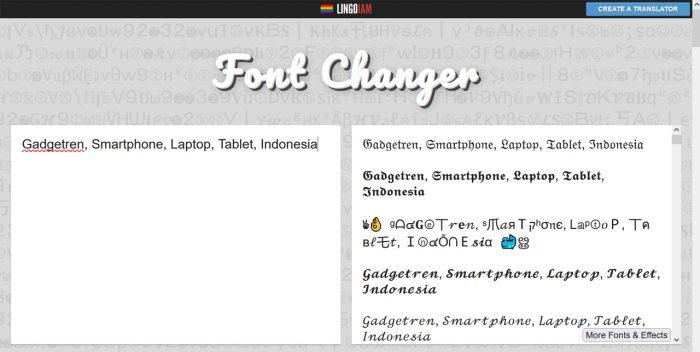 Lingojam Font Changer