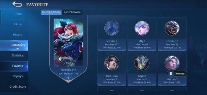 Win Rate Hero Mobile Legends