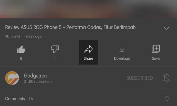 Cara Share Video YouTube ke Status WhatsApp - 1