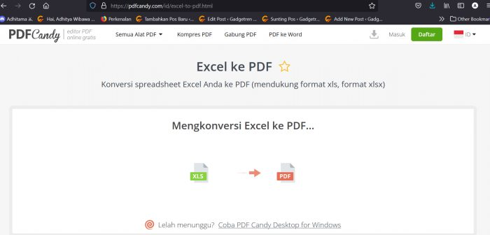 Convert Excel ke PDF Candy 2