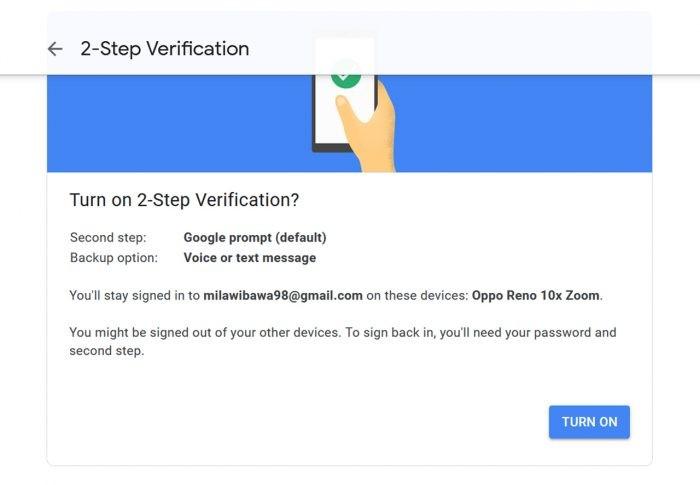 Verifikasi 2 Langkah Metode YouTube Turn On