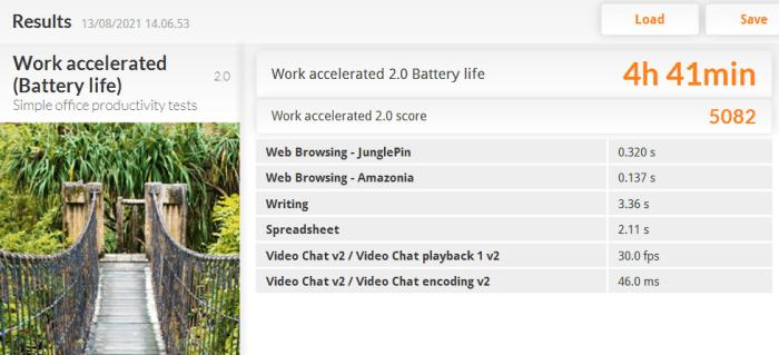 ZenBook 14 UX435 PCMark 8 Work Accelerated Battery