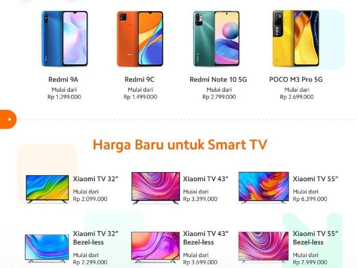 Harga baru Handphone dan TV Xiaomi.