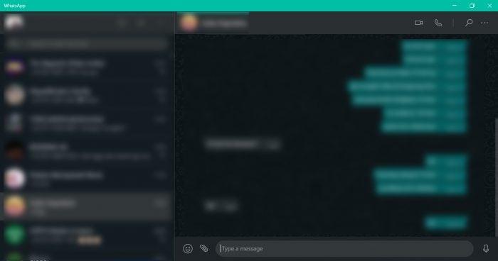 WhatsApp Desktop Running